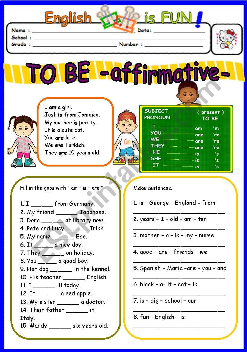 TO BE affirmative - am-is-are- ( 1 of 3 )