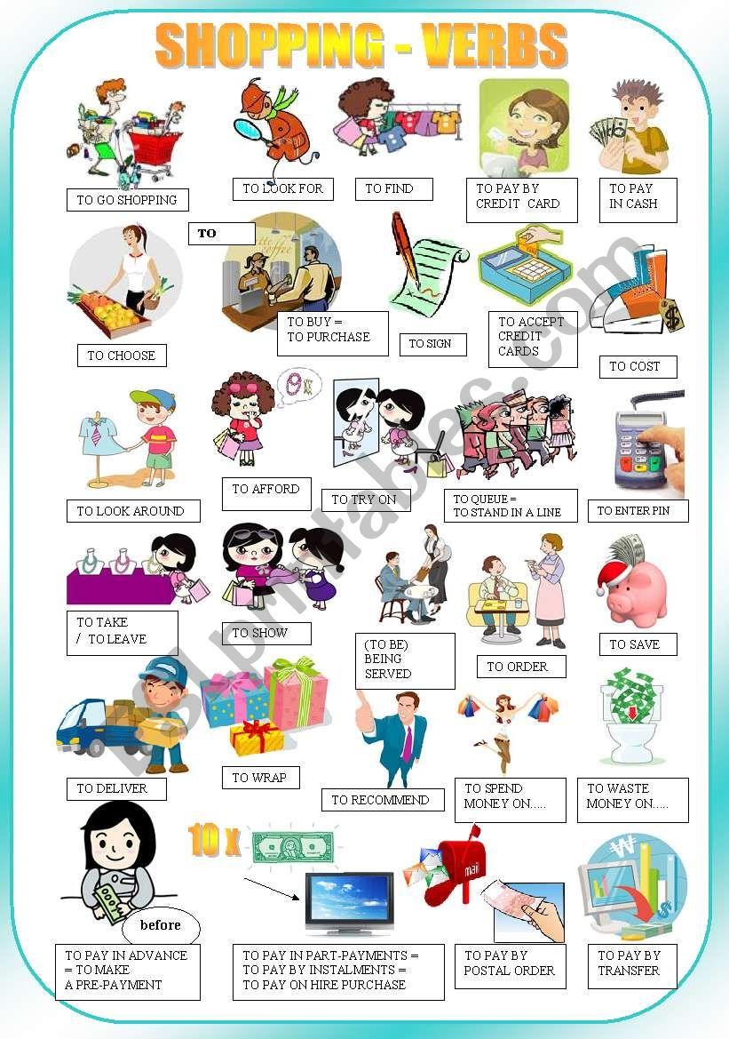 shopping verbs pictionary esl worksheet by tukany3. Black Bedroom Furniture Sets. Home Design Ideas