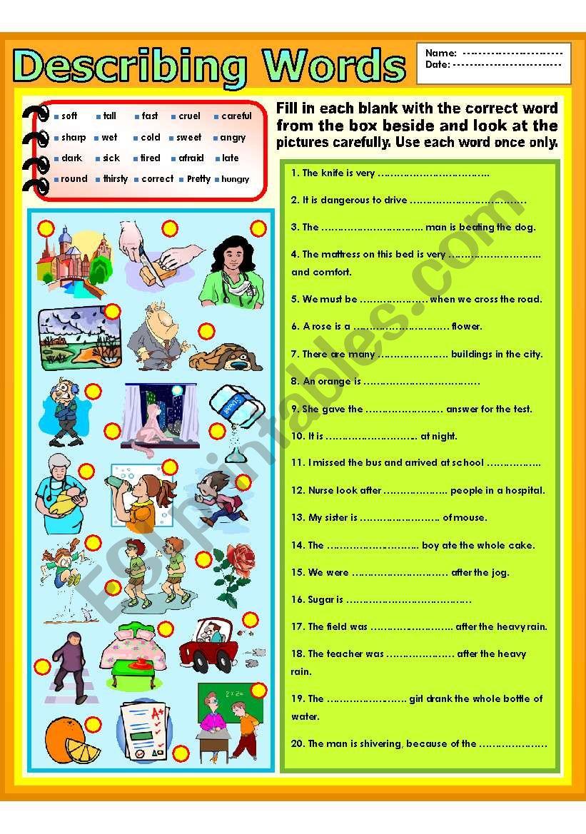Describing words worksheet