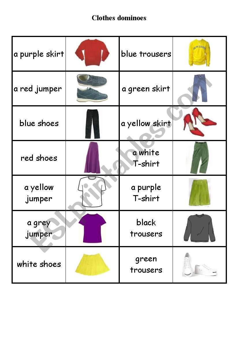 3589_1-Clothes_dominoes Clothes Worksheet Pinterest on printable esl, kindergarten esl, preschool matching, preschool winter, summer winter,