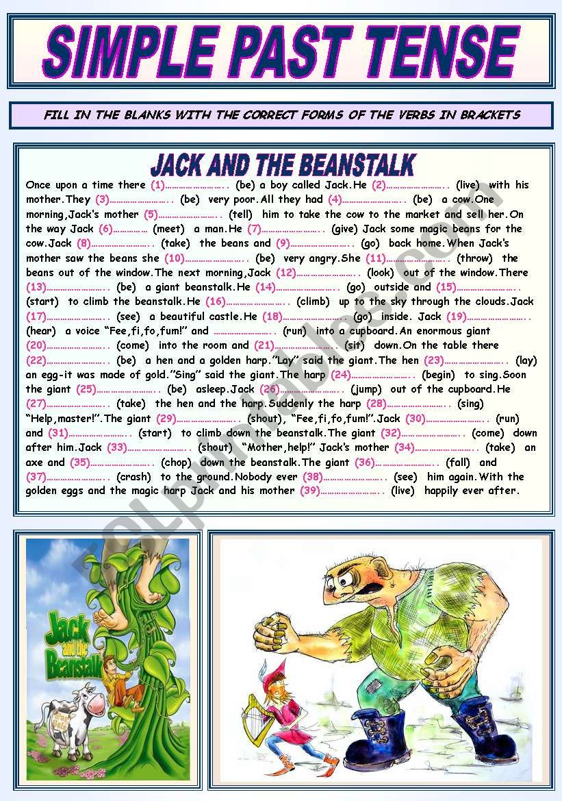 SIMPLE PAST TENSE (JACK AND THE BEANSTALK)