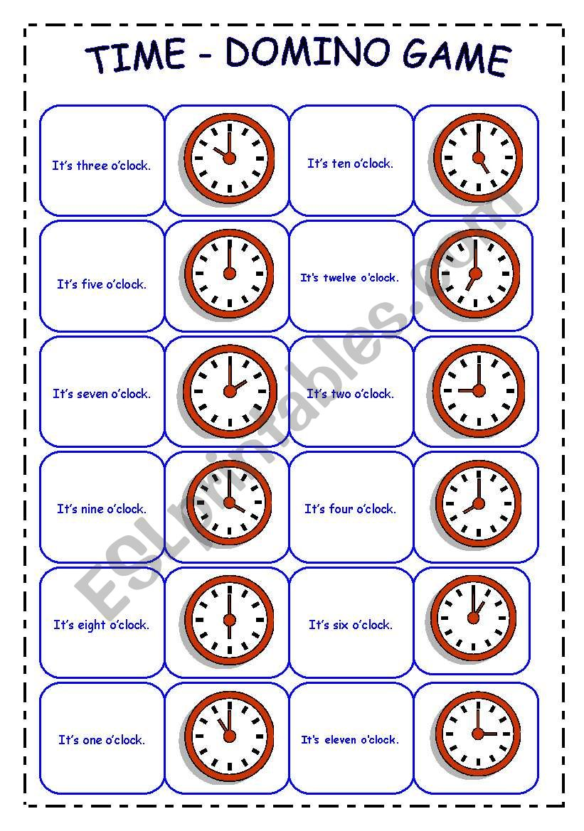 TIME - DOMINO GAME worksheet