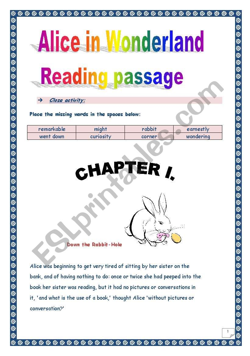 Reading time!!! Alice in Wonderland (Chapter I) - Cloze activity. (6 ...