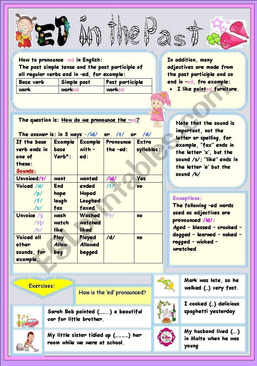 PRONOUNCIATION OF THE ED worksheet