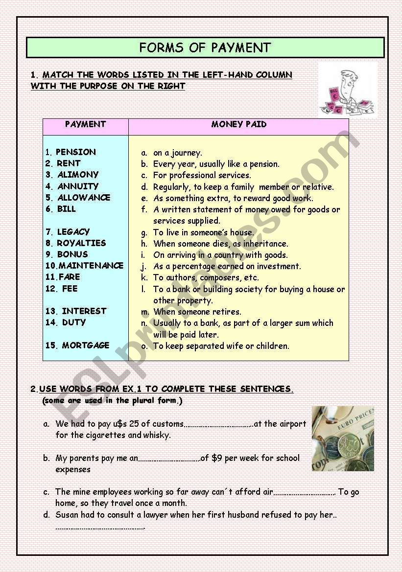 FORMS OF PAYMENT worksheet