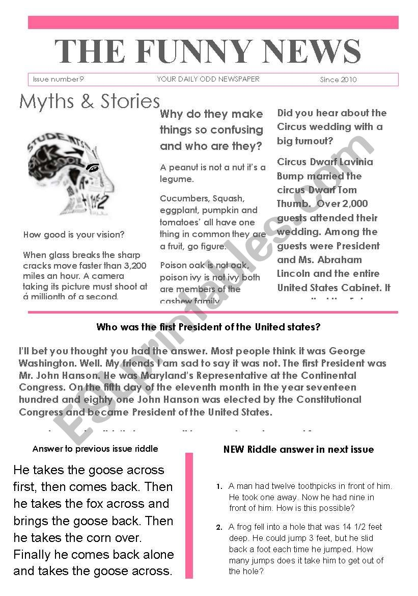 9 Funny News issue   worksheet
