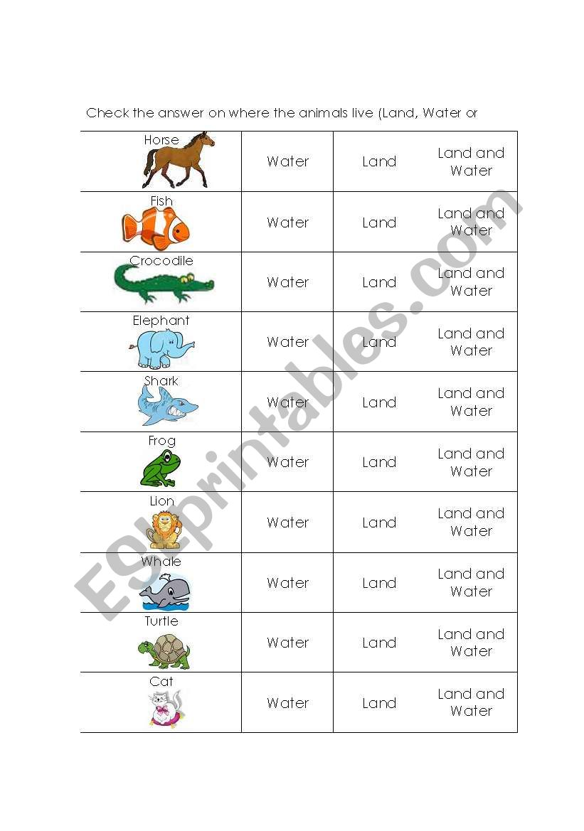 animals and where they live esl worksheet by gemma1016. Black Bedroom Furniture Sets. Home Design Ideas