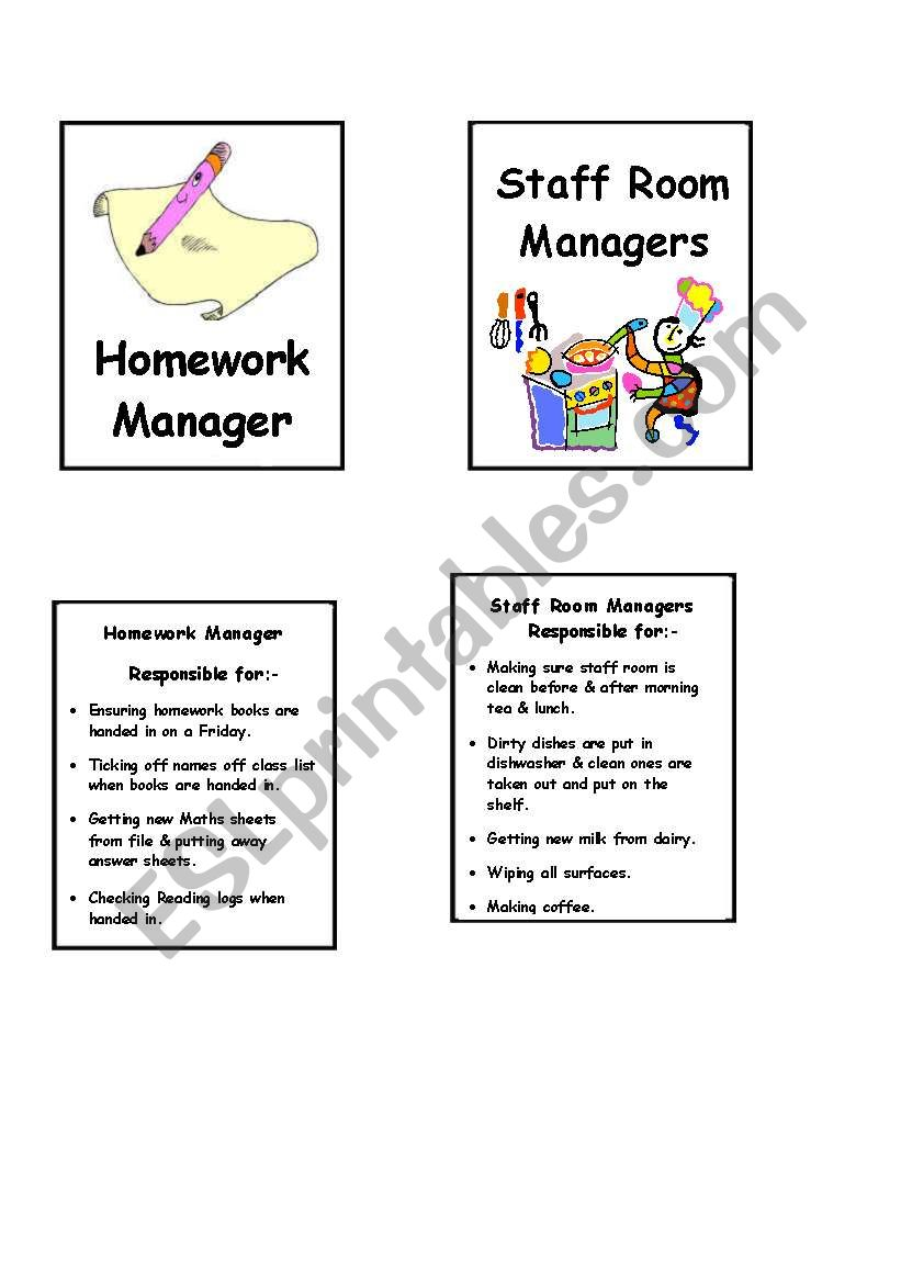 Duty cards for display 1 worksheet