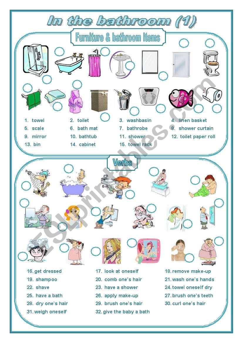 In the bathroom 1 (editable) worksheet