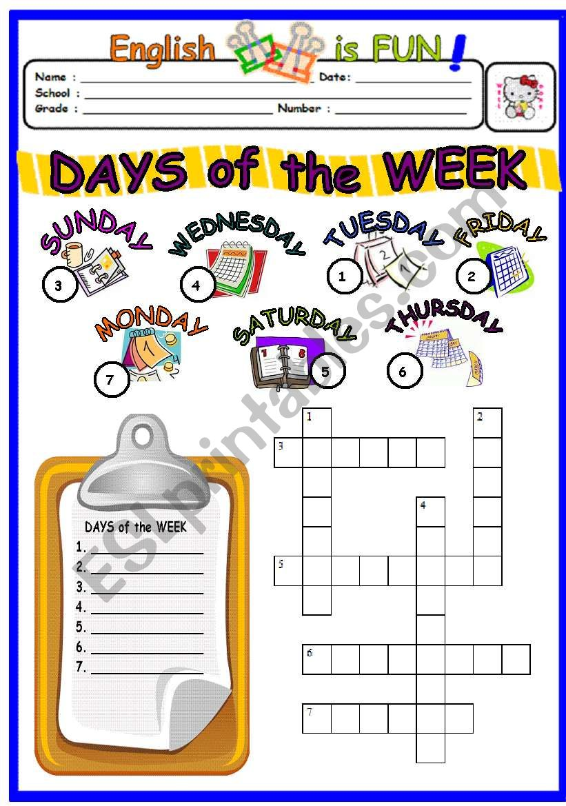 Days Of the Week 2 worksheet