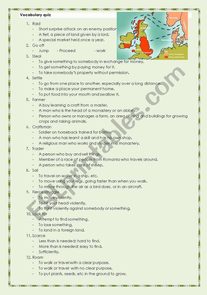 Vikings quiz worksheet