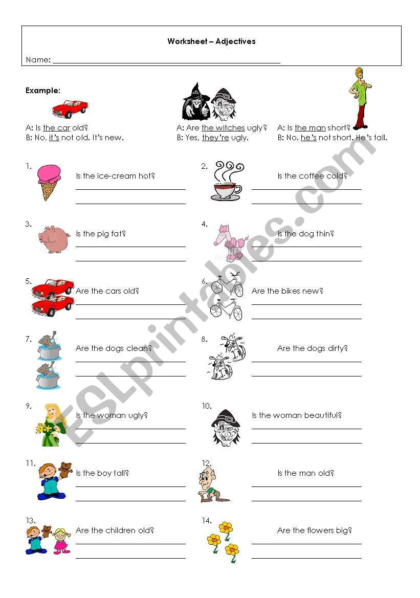 Adjectives-To be worksheet