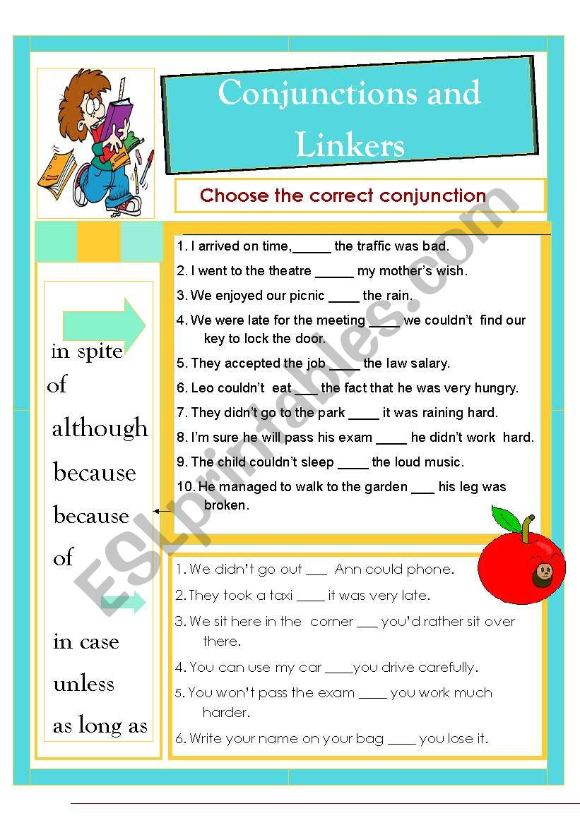 Conjunctions and Linkers worksheet