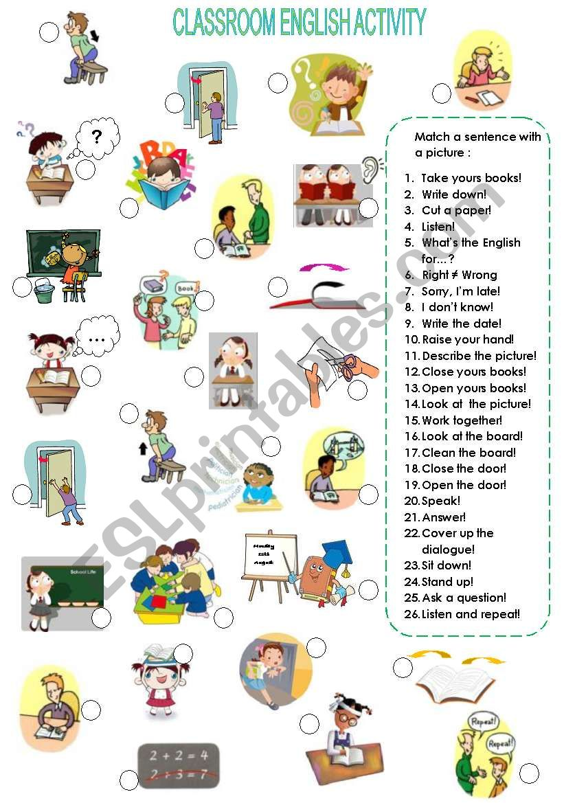 Classroom English activity worksheet