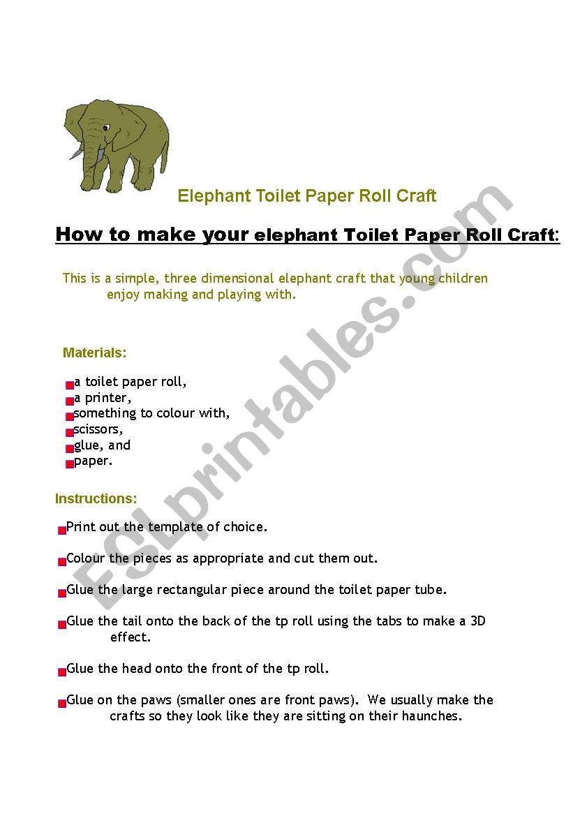 The elephant worksheet