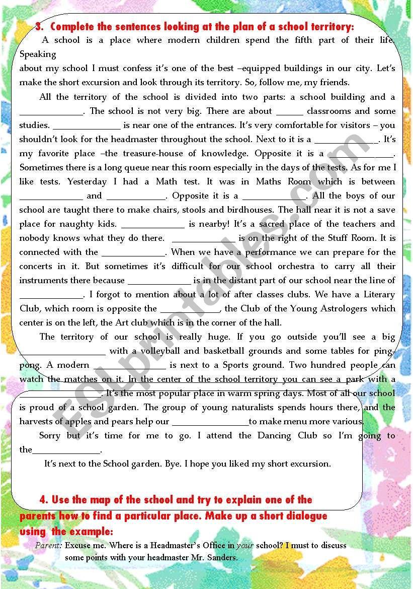 School territory page 2 worksheet