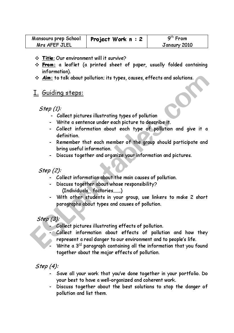 project work plan - ESL worksheet by pink flower