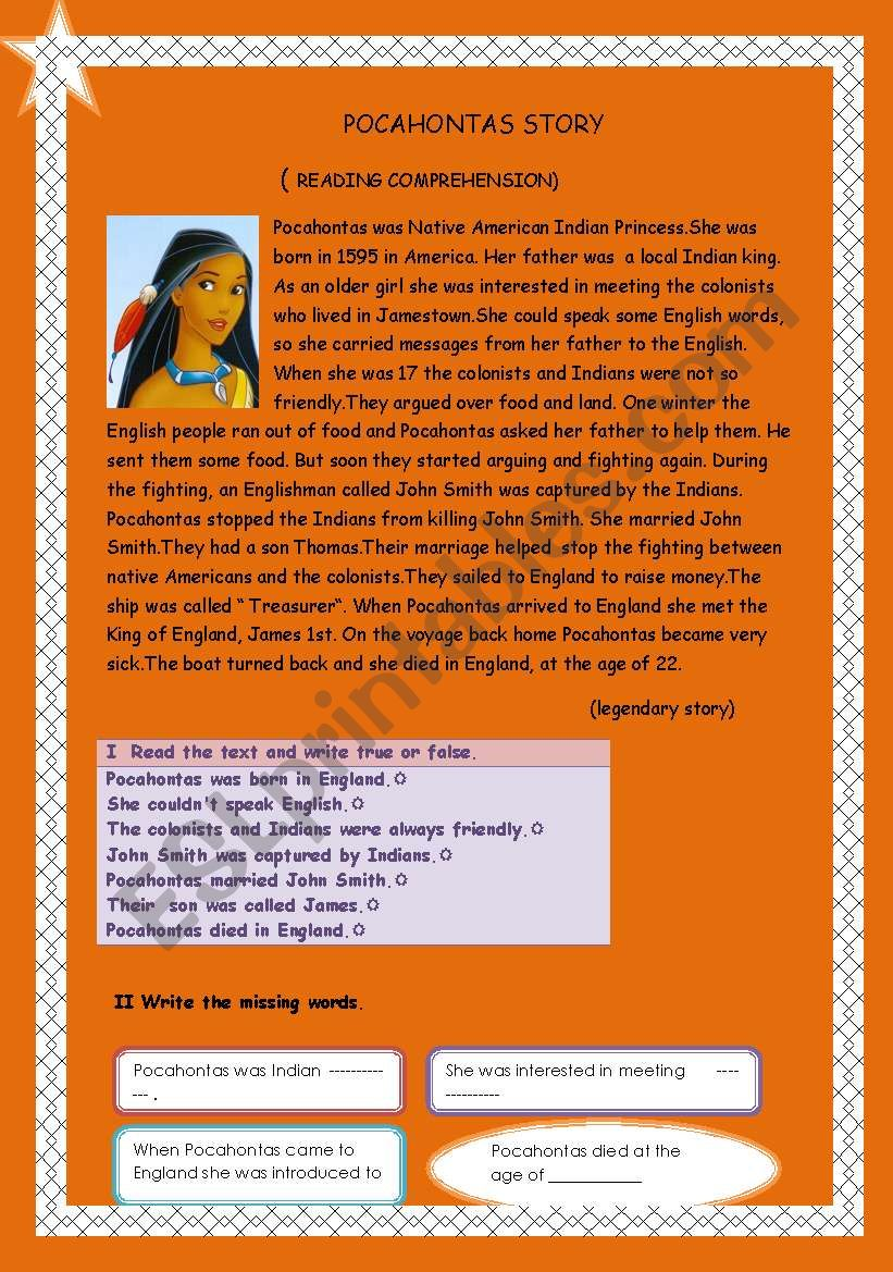 Pocahontas story ( reading comprehension)