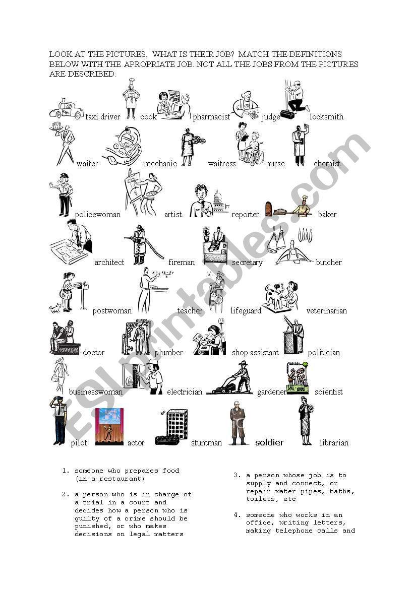 JOBS - ESL worksheet by DUSIA