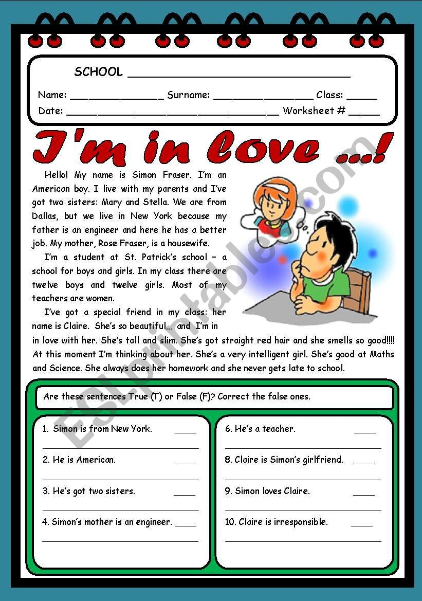 I´M IN LOVE  ( 2 PAGES ) worksheet