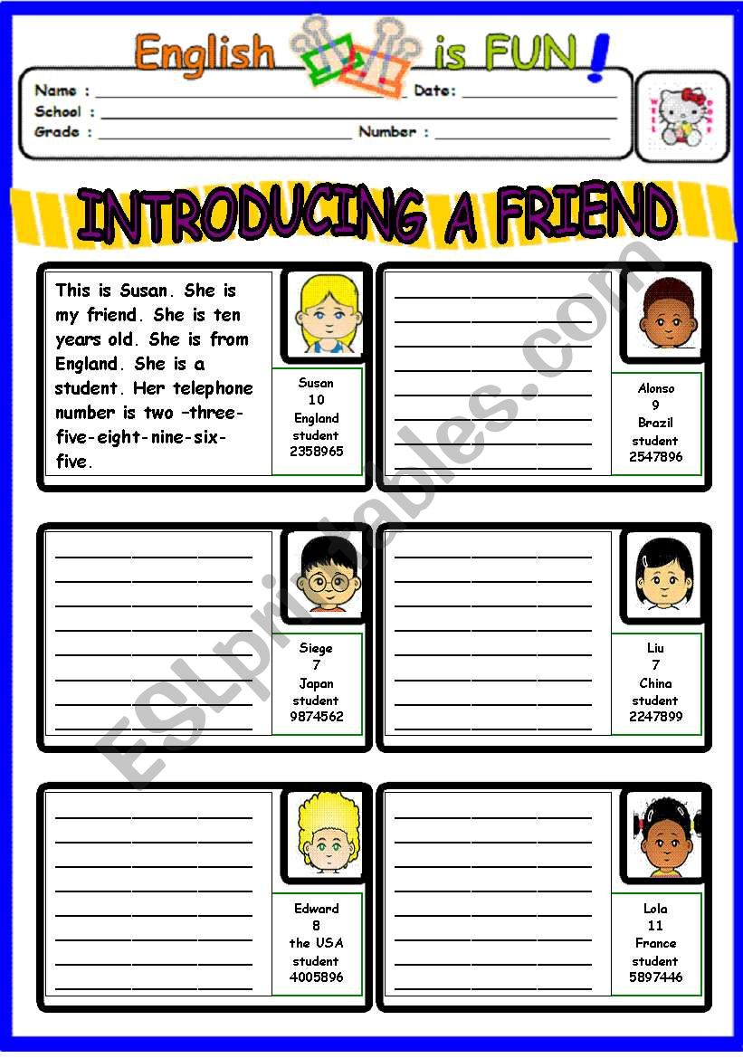 INTRODUCING A FRIEND worksheet