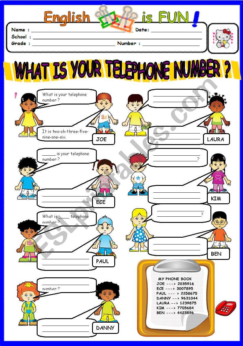 WHAT IS YOUR TELEPHONE NUMBER ? - ESL worksheet by bburcu