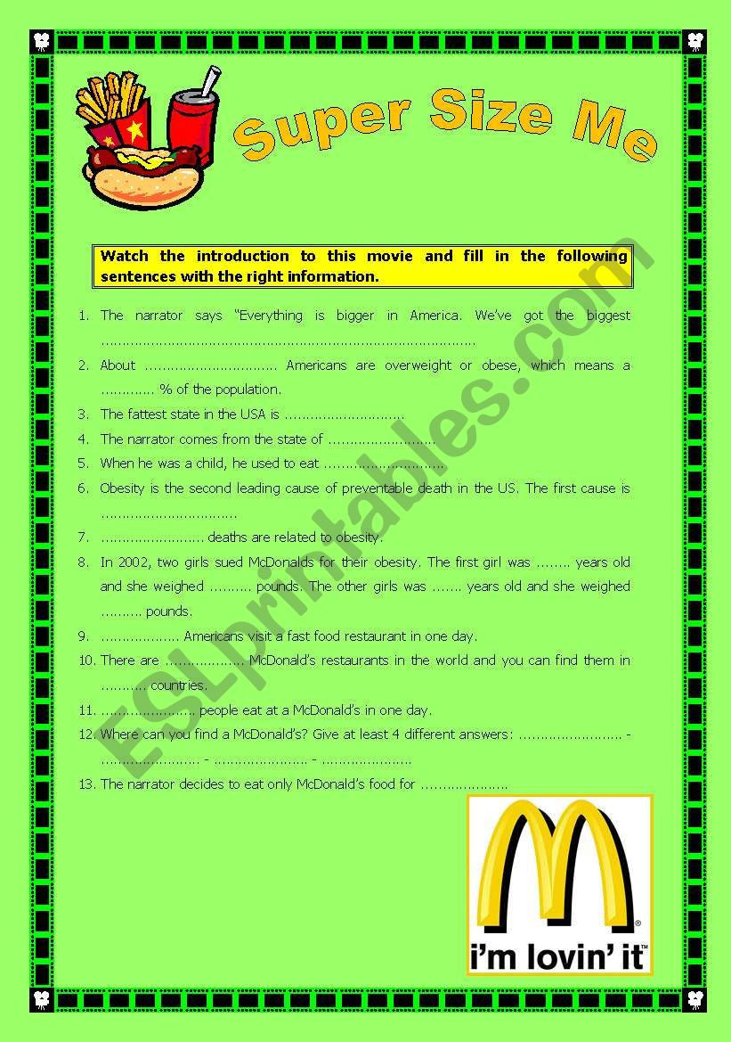 Super Size Me, introduction comprehension