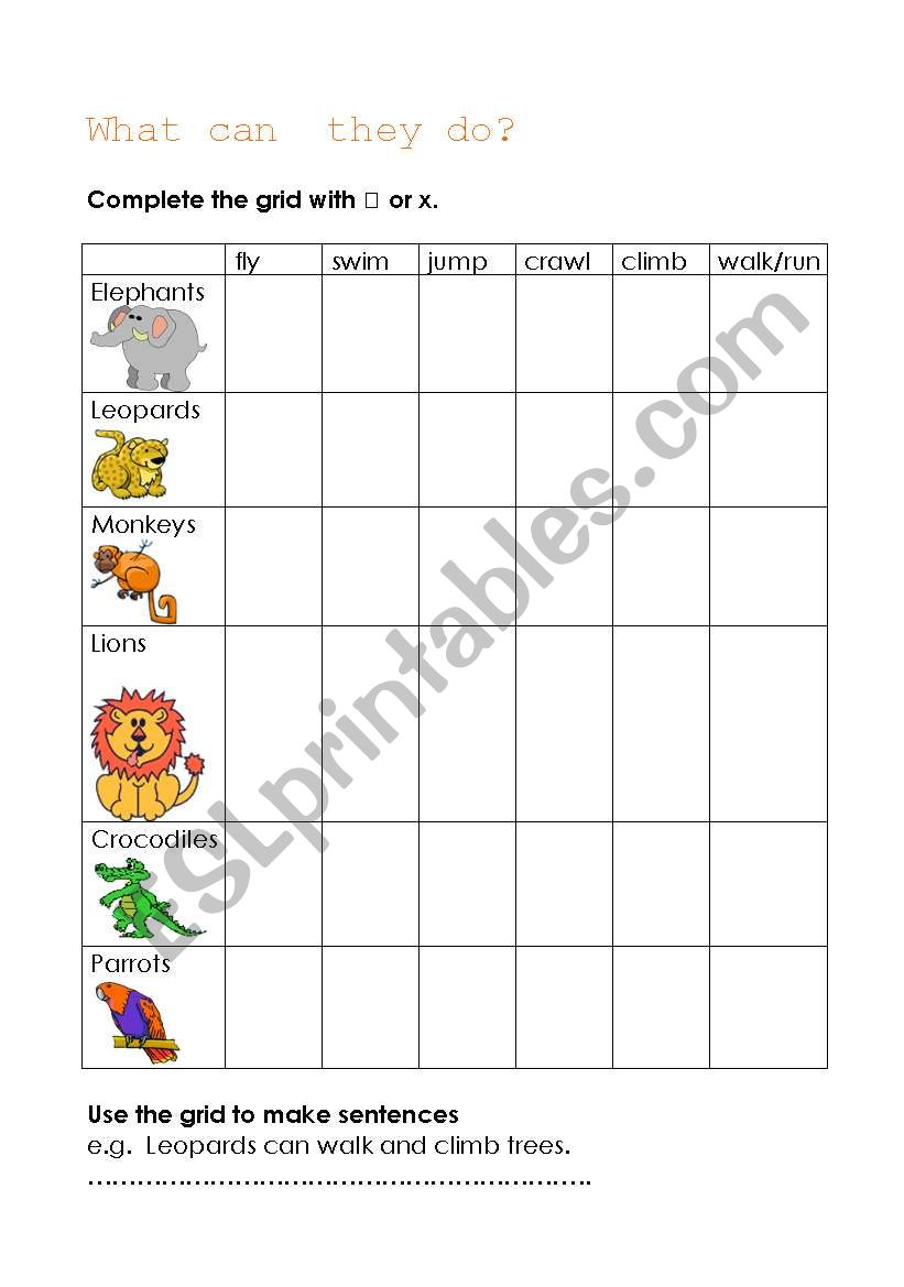 What can they do? worksheet