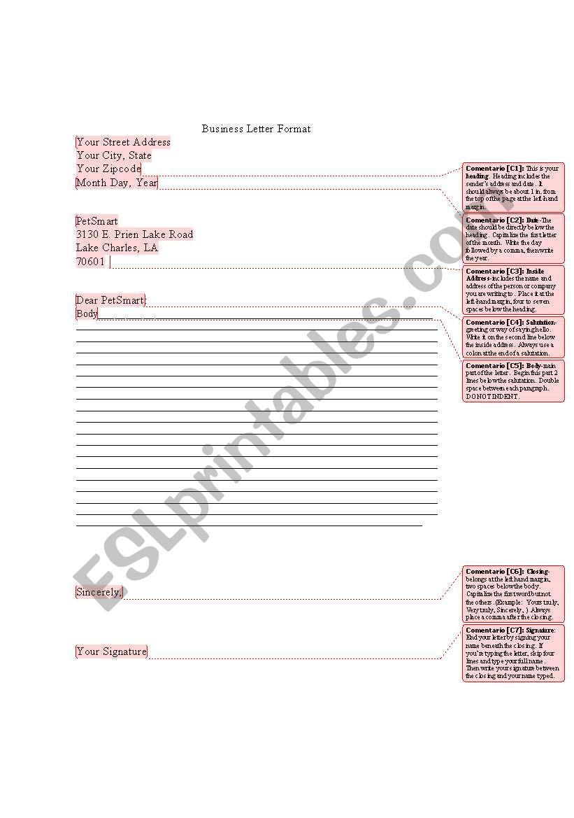 Form For A Business Letter Esl Worksheet By Kristysteet