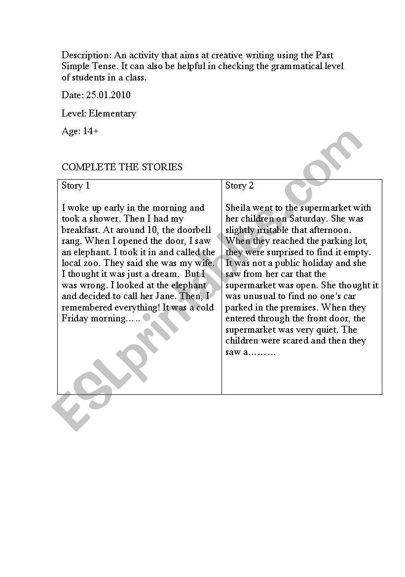 COMPLETE THE STORIES - ESL worksheet by managerz