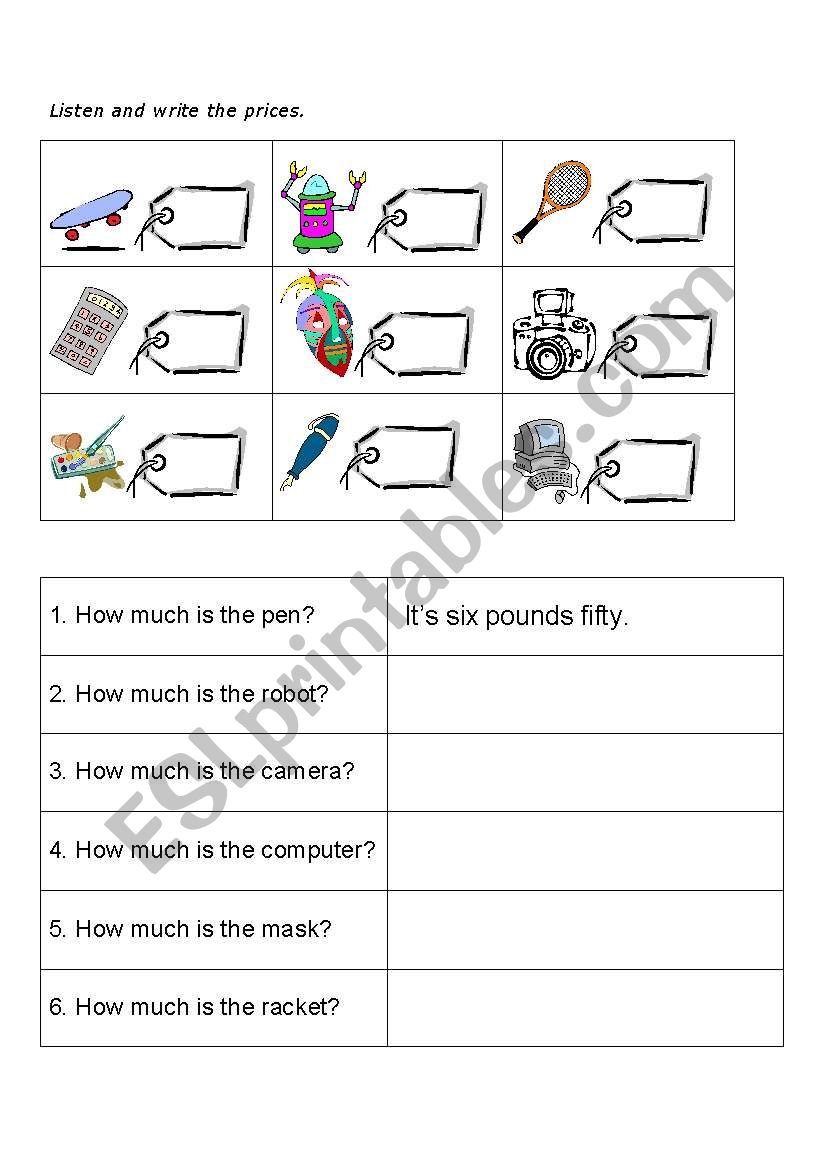 HOW MUCH IS THE ...? worksheet