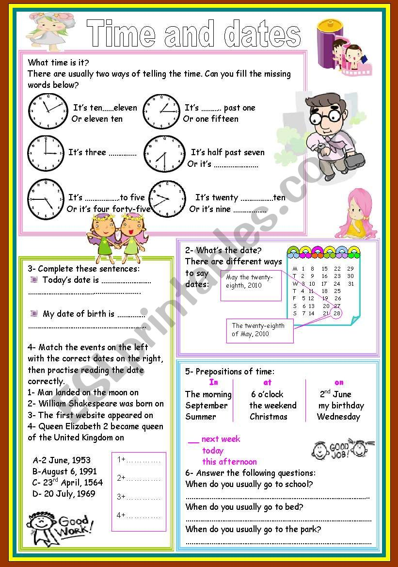 time and dates worksheet