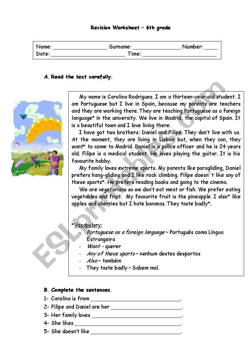 6th grade revision worksheet worksheet