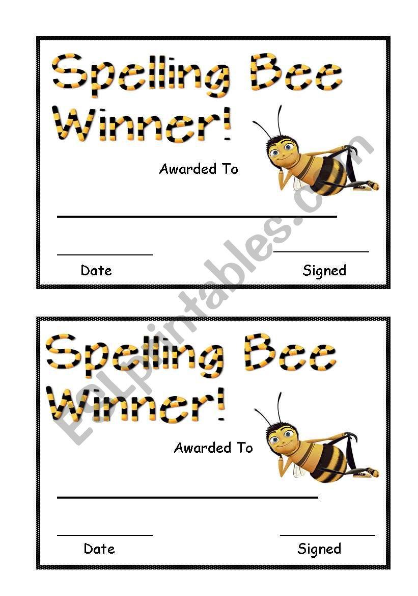 Spelling Bee Award worksheet