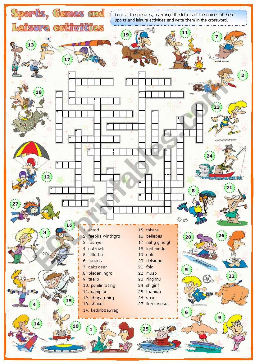 Sports, games and leisure activities: Crossword (2 of 3)