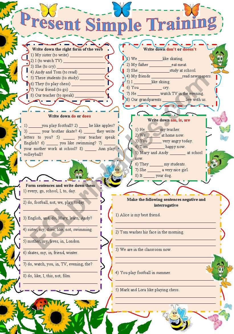 Present Simple Training worksheet