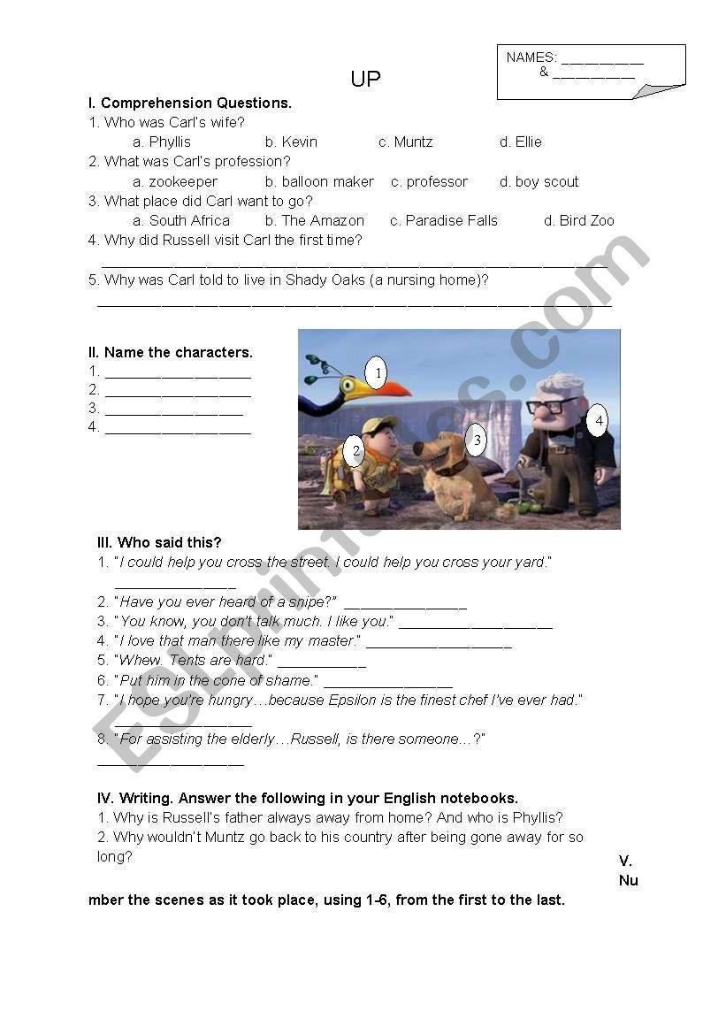 2 Pages - 6 Tasks for Disney-Pixar´s Up Movie