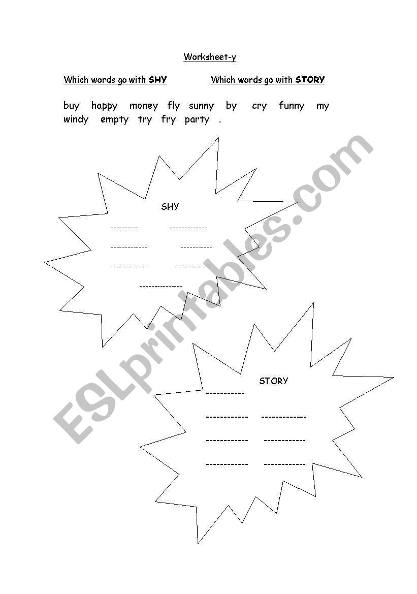 english worksheets  y sound phonics