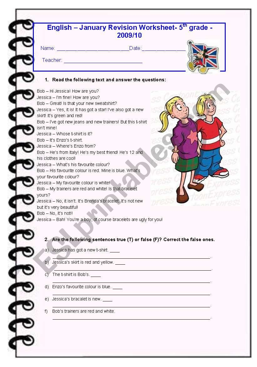 5th Grade January Test - ESL worksheet by Diana Parracho