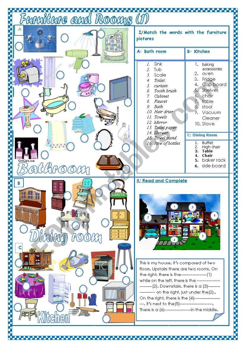 Furniture and rooms(1) worksheet