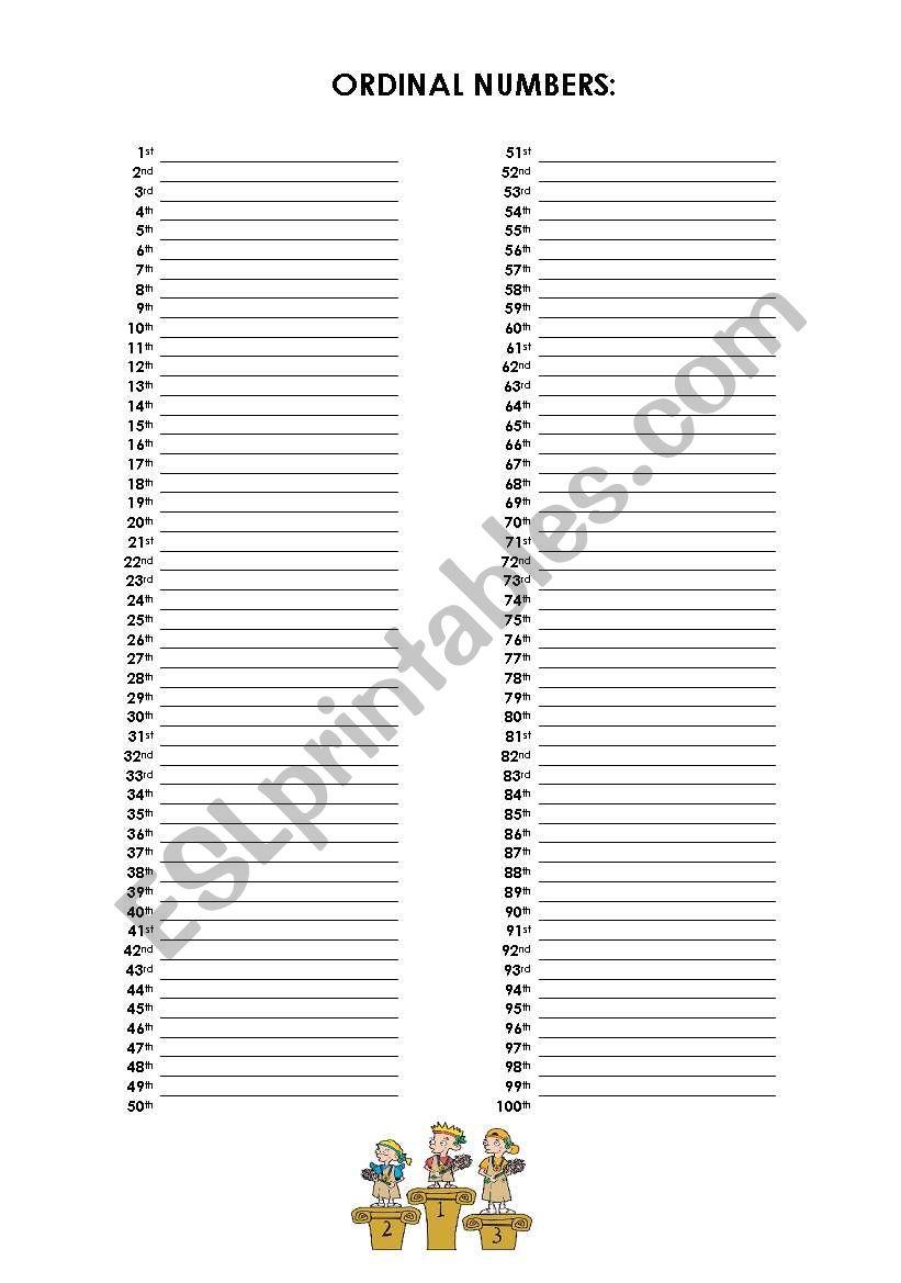 English worksheets: PORTFOLIO - Ordinal Numbers (1 to 100)