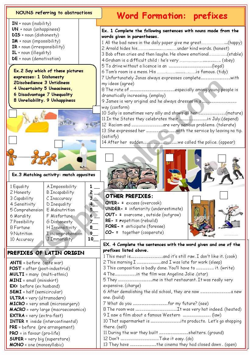 WORD FORMATION: prefixes worksheet