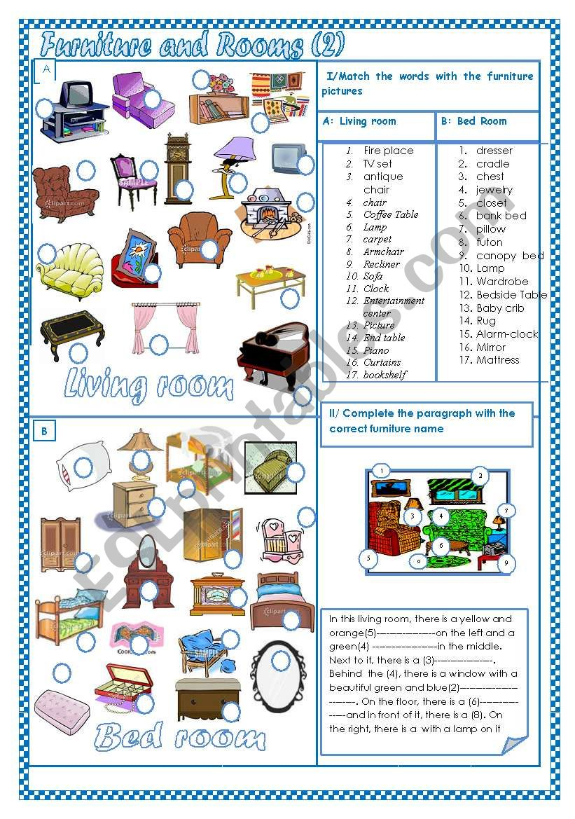 Furniture and Rooms (2) worksheet