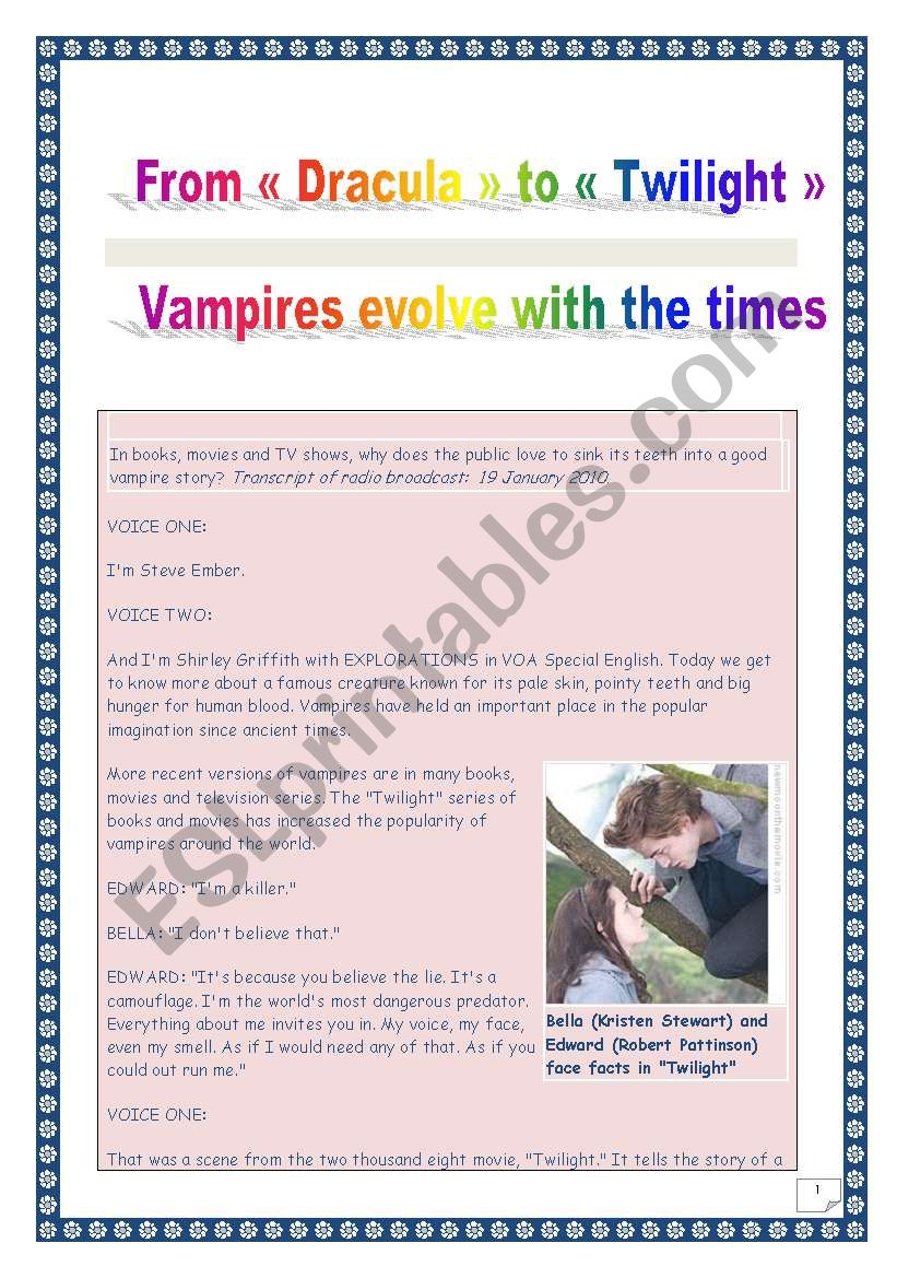 COMPREHENSIVE LISTENING / reading PROJECT - VAMPIRES (from Dracula to Twilight) - (11 tasks, 13 pages, includes ANSWER KEY & LINK)