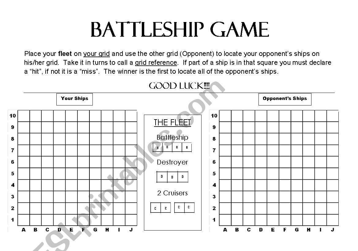 photo about Battleship Game Printable titled Battleship Activity - ESL worksheet by means of pamb