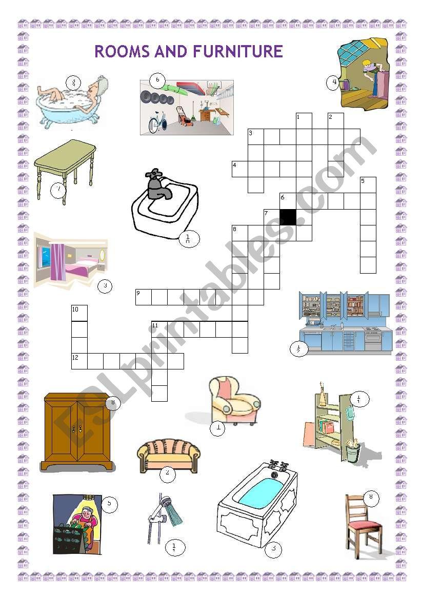 Rooms Worksheet: Rooms And Furniture Crossword