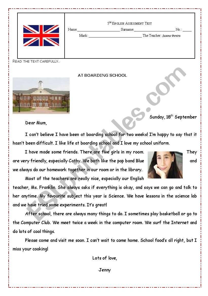 Assessment Test on SCHOOL worksheet