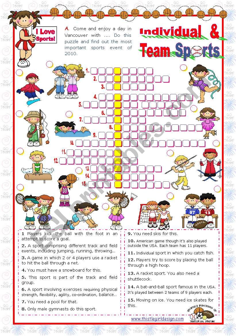 Sports Set  (4)  - Individual and Team Sports Crossword puzzle