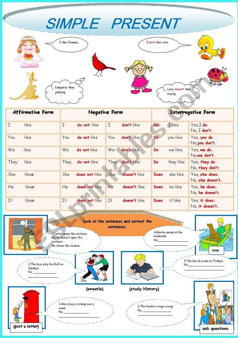 SIMPLE PRESENT (2 PAGES) worksheet