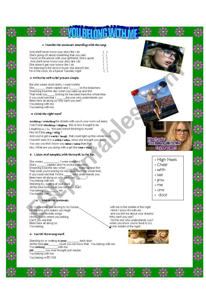 You belong with me lyrics. worksheet